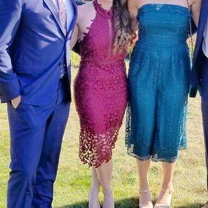 Bardot Gemma Halter Lace Sheath Dress Burgondy